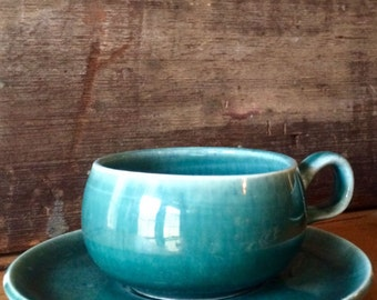Russel Wright Seafoam Demitasse Cup and Saucer,  American Modern by Steubenville