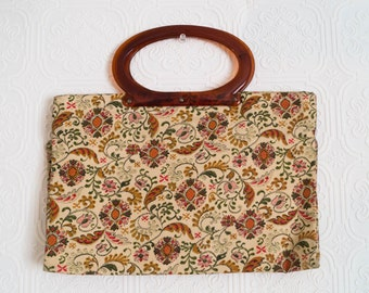 Vintage Modular Tote Bag Retro Purse Tapestry Motif Amber Lucite Handle 1950s