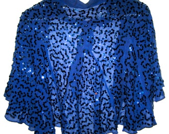 Vintage blue crepe with sequins cape caplet 30s 40s era clothing Halloween costume
