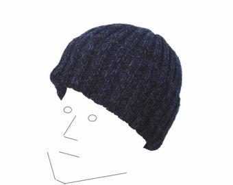 Knit Wool Hat, Watch Cap, Blue & Black, Toque Beanie, Teens Men Women, Warm Winter