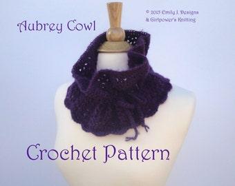 Easy Crochet Pattern, Aubrey Cowl, Neck Warmer, Neck Gaiter, Worsted Yarn & G Hook, Drawstring Scarf