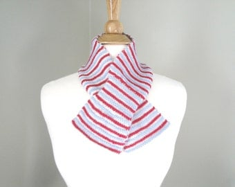 Striped Scarf, Ascot Keyhole Pull Through, Office Scarf, Hand Knit, Natural Fiber, Red White Blue, Alpaca Wool Angora