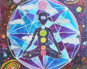11x17 in Photo Print of Intergalactic Beings Tapestry - Space - Geometry - Chakras - Meditation - Galaxy - Yoga
