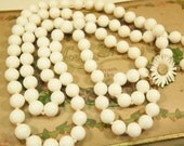 White Bead Necklace Marvella Double Strand Flower Clasp Vintage 1970s
