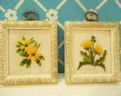 Pair Flower Crewel Wall Hangings - Plastic Frames
