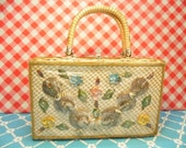 Vintage Seashell Wicker Handbag Made In Hong Kong