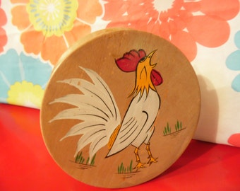 Wood Hamburger Press Rooster Made In Japan