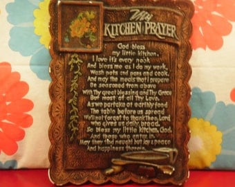 Kitchen Prayer Chalkware Plaque