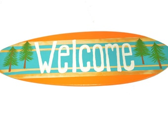 Welcome Sign, Surfboard Sign, Welcome Sign for Door, Welcome Sign for Office, Home Decor, Beach House Decor, Office Decor, Door Signs, Gifts