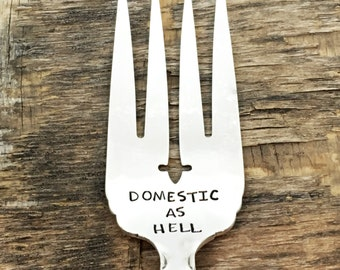 DOMESTIC AS H***- upcycled spoon, silver plated, recycled, hand-stamped