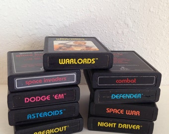 Vintage Atari Game Lot, Atari Cartridges, Vintage Video Games, Asteroids, Warlords, Defender, Breakout, Space Invaders, Cartridge Lot