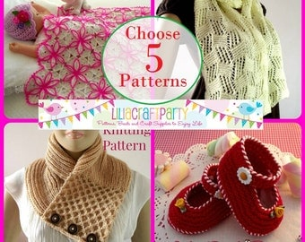 PATTERN DISCOUNT - CHOOSE 5 - Knitting & Crochet Patterns Your choice of 5 patterns Instant Download Tutorials with clear instructions.