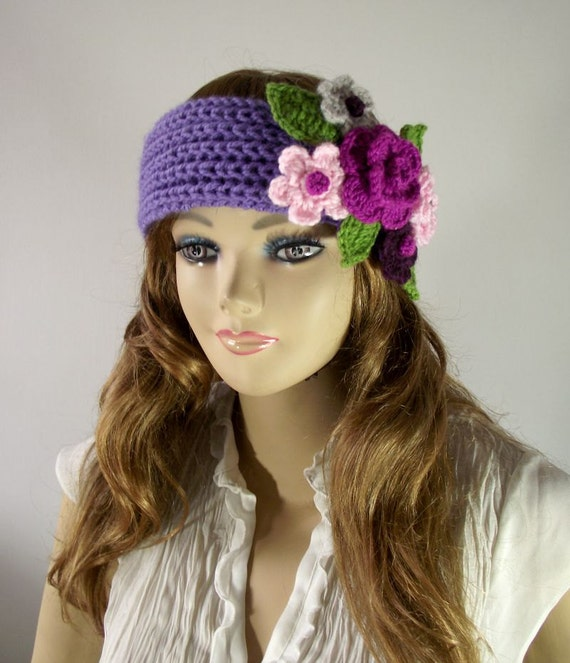 Knitted Headband Patterns With Flower : KNITTING PATTERN Headband Primrose Headband Ear warmer