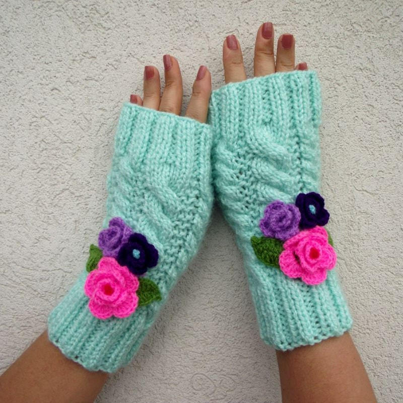 Mitten Knitting Pattern 4 Needles : KNITTING PATTERN Fingerless Gloves Knit Mittens by LiliaCraftParty