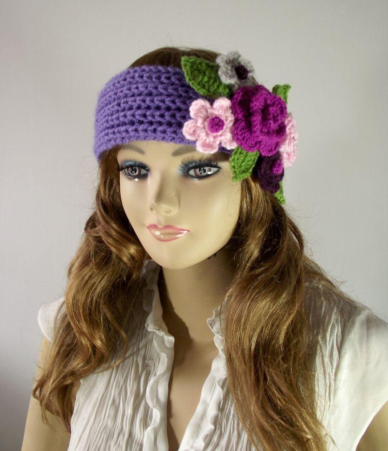 Knitting Pattern Headband With Flower : KNITTING PATTERN Headband Primrose Headband Ear warmer