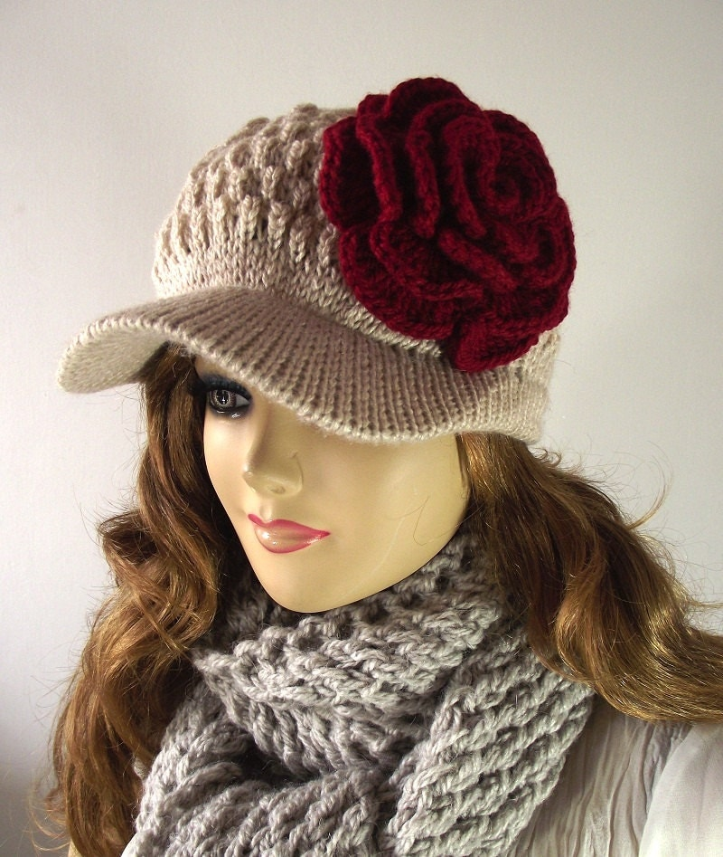 Knitting Pattern For Beanie With Flower : KNITTING PATTERN Flower Hat Newsboy Brim Cap Sabrina Hat with