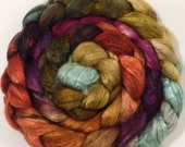 Hand dyed baby camel/ tussah silk top for spinning  -North Yorkshire - (4.1 oz.) baby camel /silk ( 50/50)