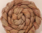 Hand dyed Top for spinning - Pomegranate  -(4.2 oz.)  18.5 mic. superfine merino/tussah silk/ natural flax ( 50/25/25)