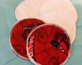 6 reusable flannel cotton nursing pads for bra A B C D DD nursing breastfeeding - spiderman