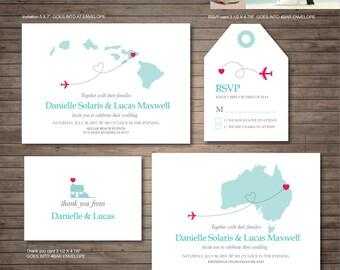 Hawaii Destination Wedding Invitation Printables, Beach Wedding, Map  Invitation, Customized DIY Wedding,