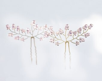 8222_Bridal veil pin, Pink crystal pin, veil Fascinator, bridal hair pins, Gold pin, hair piece, Prom Hairpins, Delicate bobby pin For bride