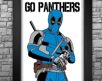"""DEADPOOL """"Carolina Panthers"""" inspired limited edition art print. Available in 3 sizes!"""