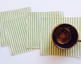 Cloth Napkins - Small Green and White Ticking Cloth Cocktail Napkins - Holiday Christmas Napkins - Lunchbox Napkins - Set of Four