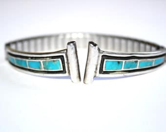 Vintage Sterling Native American Turquoise Inlay Watch Tips