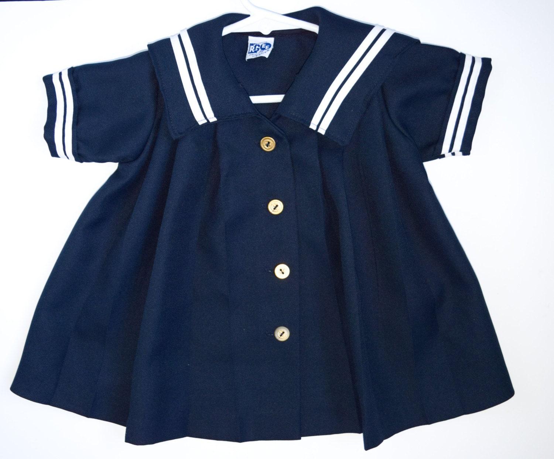 Vintage Baby Girls Dress Navy Blue Sailor Dress Linen Look
