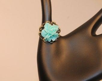Blue Sky Rose Cabochon Adjustable Ring on Antique Gold Filigree