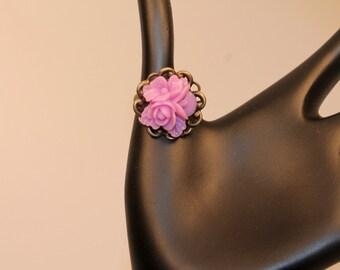 Lavender Cabochon Rose Adjustable Ring