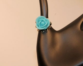 Turquoise Blue Cabochon Rose Adjustable Ring