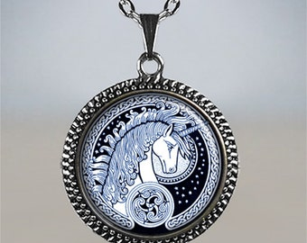 Celtic Unicorn pendant, silver unicorn pendant, unicorn jewelry, unicorn jewellery, fantasy jewelry, mythology, unicorn lover's gift