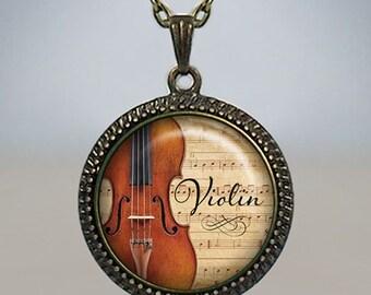 Violin necklace, Violin pendant, music pendant Violinst pendant, music teacher's gift, music jewelry, music jewellery music necklace