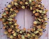 LARGE Fall Wreath-Fall Door Wreath-Front Door Wreath-Fall Door Decor-Fall Home Decor-RUSTIC BROWNSTONE Leaf Berry Door Wreath-Wreath-Wreaths