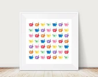 Rainbow Love Bunnies, Rabbit Cross Stitch Pattern, Instant Download, DMC Threads, Hearts