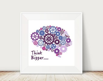 Think Bigger Cross Stitch Pattern, PDF, Instant Download, DMC Threads