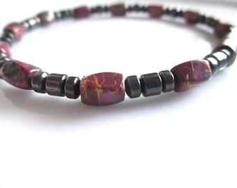 Burgundy Magnetic Hematite Bracelet, Magnetic Bracelet, Magnetic Hematite Bracelet, Magnetic Jewelry
