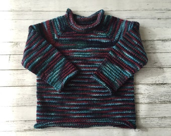 hand knit roll neck toddler sweater size 4