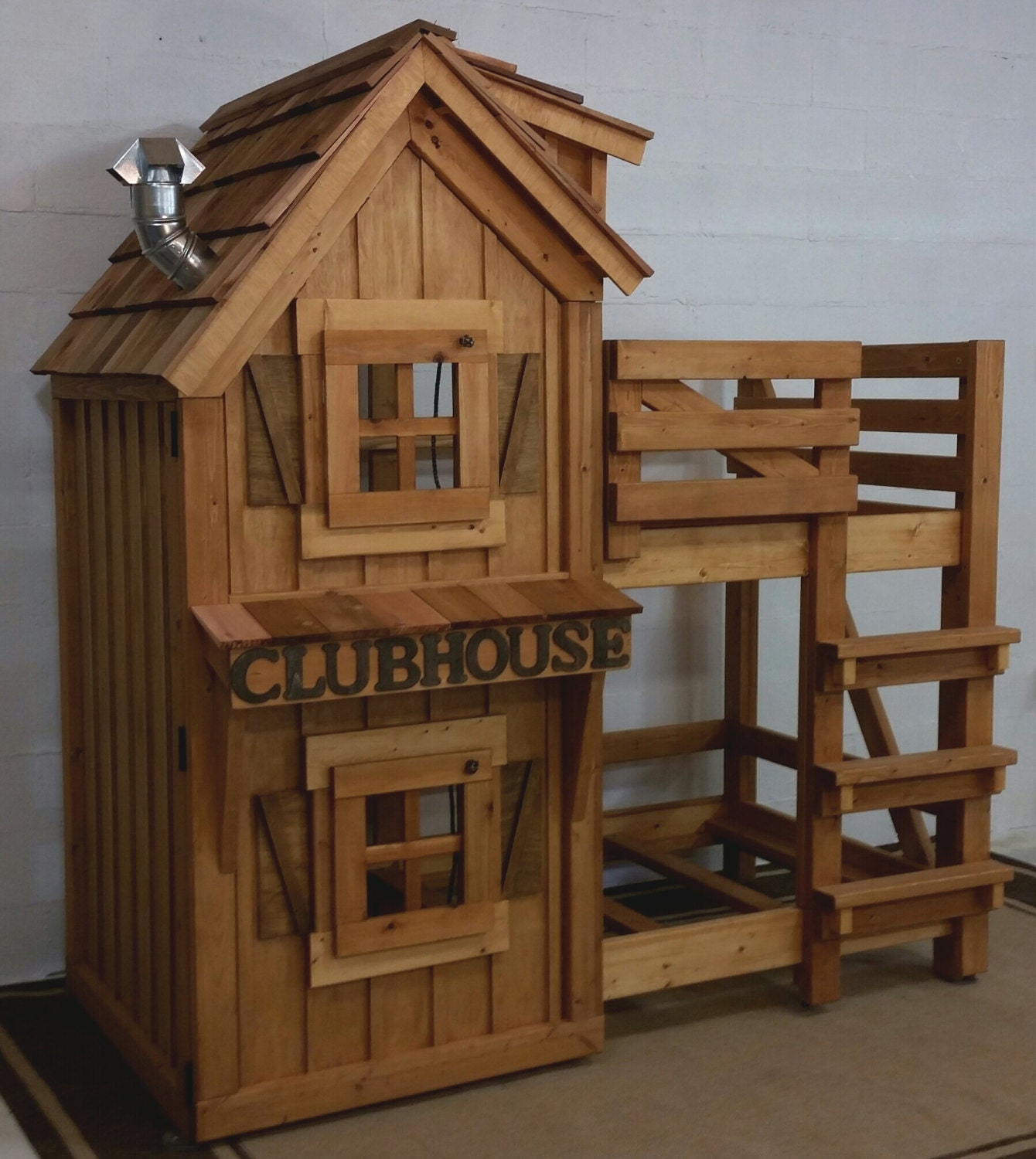 Rustic cabin clubhouse bunk bed with cedar by for Diy rustic bunk beds