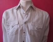 Mens MEDIUM western shirt, H Bar C, vintage, white with blue pinstripes, pearl snaps (645)