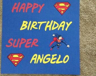 Wood superhero birthday sign