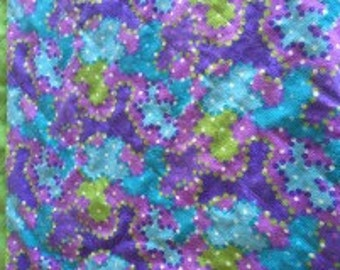 Baby Quilt Flannel Quilt Receiving Blanket Reversible Purples, Blues and Greens