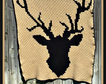 C2C Graph, Deer Head Afghan, C2C Graph, and Written Word Chart, Deer Afghan, Deer Graph, Deer C2C, Buck Afghan, Buck Graph, Buck C2C