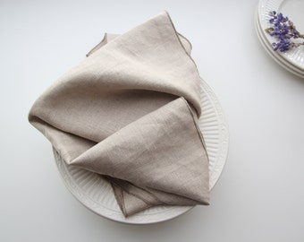 NEW!  Linen Tea Towel, Natural Flax/Oatmeal Color, Taupe serged edge