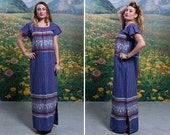 70s GUATEMALAN Woven Maxi Dress BOHO BABE Embroidered Tunic Long Resort Dress (Small | Medium)