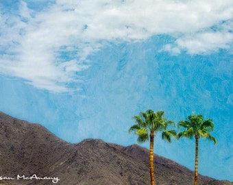 Desert Romance Landscape Photograph,  Color Art Print, Home Decor, Nature Photography, Palm Trees, Mountains Photo, Desert Romance