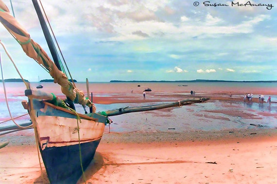 Wooden Sailboat on Madagascar Red Clay Shoreline Color Print 10 x 15, Coastal Decor, Landscape Photography, Red, Pink, Blue