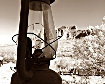 ANTIQUE DESERT LANTERN Sepia Photograph