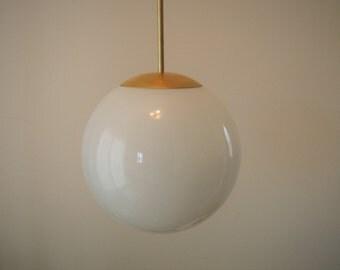 "10"" Opal Glass Orb Globe Light - Mid Century Modern Chic Style"